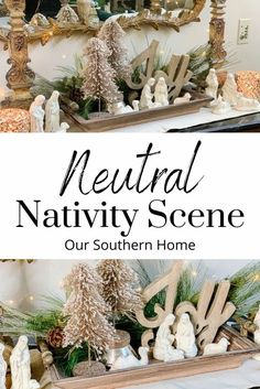 Create a neutral nativity scene with a thrift store set, wooden tray, and gorgeous faux greenery for a lovely Christmas vignette. #christmasdecor #nativity #neutraldecor