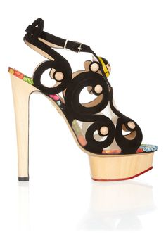Charlotte Olympia Anastasia Suede and Wooden Sandals in Gold (Black) | Lyst