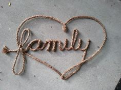 Custom Western Rope Name Art (family heart with sparkles in dark brown) Please visit my etsy shop, Lasso Lettering at https://www.etsy.com/shop/LassoLettering