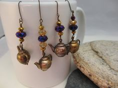Vintage Brass Teapot Charm Dangles by LaReinDesCharms on Etsy, $5.50