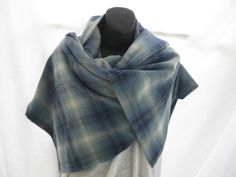 Large blue and black plaid trendy flannel shawl, OOAK giant flannel wrap, hypoallergenic blue scarf, unisex all season preppy boho wrap by thelavenderpear on Etsy