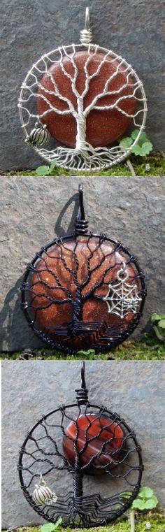 Wire wrapped Halloween Trees of Life http://www.etsy.com/shop/MadamVonTrinkets #tree #wire #wrapped #jewelry