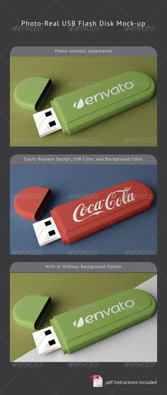 USB Flash Disk Mock-Up  #GraphicRiver         Simple mock-up to showcase your logo design at a photo-realistic USB flash disk appearance. Consist of 2000×1200 well-structured and layered PSD file.  You can easily replace the design by using smart-object feature, and you can also change USB flash and background color by using Hue/Saturation adjustment. No need to worry about placement, lighting, and perspective. Everything has done automatically!  Feel free to leave feedback/comment or rate…