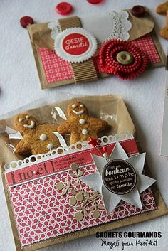 Cute! #christmas #gift #wrapping #presents #packaging #cookie #red #white #clear #kraft