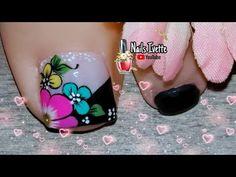 Toe Nail Art, Toe Nails, Flower Nail Designs, Flower Nails, Pedicure, Floral, Toenails, Black Nails, Pretty Nails