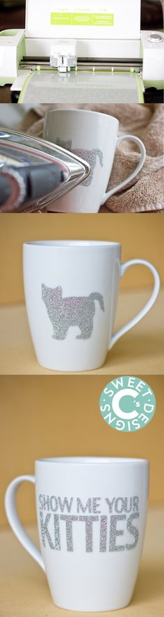 Cricut Vinyl on mug tutorial, that's dishwasher safe! This super easy glitter DIY mug is hilarious- and has a completely unique technique to make it dishwasher safe! Vinyl Crafts, Vinyl Projects, Craft Projects, Paper Crafts, Project Ideas, Silhouette Cameo, Craft Gifts, Diy Gifts, Diy Becher
