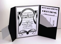 Vintage Glam 1920's Gatsby Inspired Art Deco Old Hollywood Pocketfold Wedding Invitation in Black and Silver