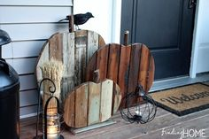 Rustic Pumpkin Crafts - DIY Fall Decor - Good Housekeeping - stain wood with tattered angels paints Into The Woods, Pallet Crafts, Diy Pallet Projects, Pallet Ideas, Wood Ideas, Craft Projects, Fall Projects, Wood Pumpkins, Fall Pumpkins