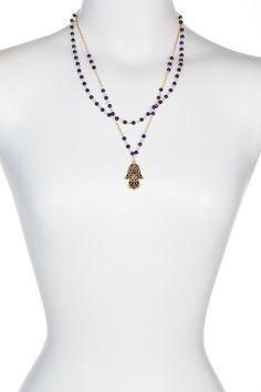 Lapis Multi Strand Necklace Hamsa Protection Amulet Necklace by Sapanyu on @HauteLook