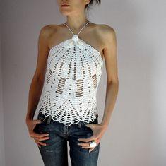 Crocheted tank top corset Halter Pure white Handmade Summer Women Sexy (Lux). $150.00, via Etsy.