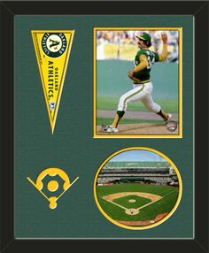 Two framed 8 x 10 inch Oakland Athletics photos of Rolli Fingers (including one VERTICAL photo at the top and one HORIZONTAL photo framed in an oval) with a Oakland Athletics mini pennant, double matted in team colors to 16 x 20 inches.  Includes a baseball diamond which is cut into the top mat and shows the bottom mat color.  The oval photo will be cropped to fit.  (Pennant design subject to change)  $89.99 @ ArtandMore.com