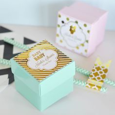 $12.00 Glamorize your table tops with our Personalized Metallic Foil Favor Boxes - each 2 piece favor box comes with a personalized metallic foil printed label in either Gold or Silver Foil. Choose from stylish patterns and modern designs to complete the custom favor box. Nestled inside can be sweet treasures of your choice.Contents not included. This two piece box has a glossy finish and ships flat, easy folding required for lid and base, labels come un-attached on a sheet.Due to the ...