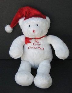 "9"" BABYS FIRST CHRISTMAS BEAR Lovey BABY GUND 88297 Plush Toy"