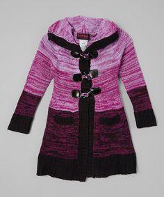 Look what I found on #zulily! Purple & Black Sweater Coat - Toddler & Girls #zulilyfinds