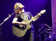Steven Wilson with his custom Babicz Acoustic guitar.