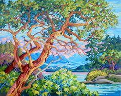 Landscape Art, Landscape Paintings, Landscapes, Canvas Painting Designs, Canvas Paintings, Arbutus Tree, Art Techniques, Beautiful Artwork, Art Studios