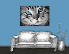 Poster: getigerte Katze - türkis - Mein Posterladen - DaWanda