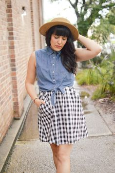 Rainy Sunshine by Curious Natalia, Ruche gingham dress, Topshop red sandals, Forever 21 denim top and straw hat.