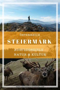 Tipps für Ausflugsziele & Wanderungen in der Steiermark - dem grünen Herzen Österreichs Rafting, Hiking Europe, Photo Location, Horses, World, Nature, Movie Posters, Outdoor, Travel