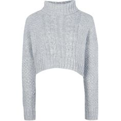 Boohoo Phoebe Crop Cable Knit Jumper | Boohoo (60 RON) ❤ liked on Polyvore featuring tops, sweaters, cable sweater, chunky turtleneck sweater, cropped sweater, crop top and cropped turtleneck sweater