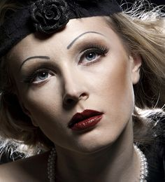 1930's makeup with a touch of light pink was known as tea rose. this look adds a depth with darker matte tones and bronzer as a contour.