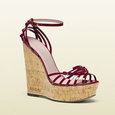 Gucci Alice Patent Leather Wedge Sandal