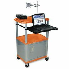 """LUXOR Mobile Computer Centers - Tan by LUXOR. $558.00. LUXOR Mobile Computer Centers include everything you need to store and transport your equipment. 20-gauge steel locking cabinet includes 2 keys. Adjustable-height monitor mount swivels 270°, tilts 180° and is VESA 75/100 compatible. 24""""Wx18""""D shelves have retaining lip. 191/2""""Wx153/4""""D have a pull-out tray to hold your keyboard or laptop. Includes 3-outlet UL-approved recessed electrical assembly with 15' cord a..."""