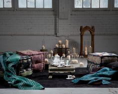 Gudri Tea Service. Throws + Pillows + Poufs + Antique Accents.