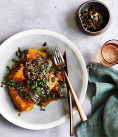 Lamb backstrap with roast pumpkin, anchovy, mint and sesame :: Gourmet Traveller