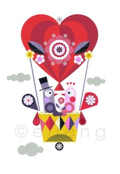 love in a hot air balloon print by EllenGiggenbach on Etsy Heart Illustration, Graphic Illustration, Nursery Prints, Nursery Art, Cherry Blossom Petals, Printed Balloons, Applique Fabric, Japanese Embroidery, Creative Pictures