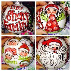 Custom family Santa and Elf ornament $25 includes: all family members, even pets! One saying of your choice and two large images (Santa, elf, etc) and ribbon to hang with