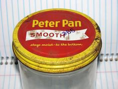 VINTAGE ORIGINAL ANCHOR HOCKING PETER PAN PEANUT BUTTER CLEAR GLASS JAR AND LID. #PETERPAN