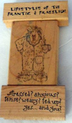 Scrapbooking Rubber Stamps Mounted ART IMPRESSIONS, Stressed & Frazzled 1996 A5 #ArtImpressions