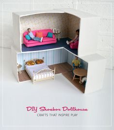 diy cardboard dollhouse - easy to decorate with Mod Podge!