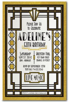 15 best 50th birthday invitation ideas images on pinterest custom great gatsby roaring art deco birthday invitations custom invitations and announcements for all occasions by delight invite filmwisefo