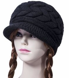9be89c29792 Loritta Womens Winter Warm Knitted Hats Slouchy Wool Beanie Hat Cap With  Visor Women s Caps