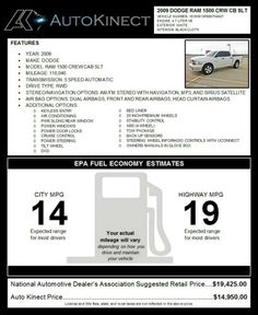 "2009 Dodge Ram 1500 Crew Cab SLT Mileage:110046,SLT Pickup 4D,5-Spd Automatic,2WD,V8 4.7,Ext:White,Int:Black ABS (4-Wheel),Keyless Entry,Air Conditioning,Pwr Rear Window,Pwr Windows,Door Locks,Cruise Control,Pwr Steering,Tilt Wheel,AM/FM,Navigation,MP3,Sirius,DVD,Dual,F&R,Head curtain Air Bags,Bed Liner,20"" Premium Wheels,Stability Control,Tow Package,Back up Sensors,Steering Controls Owners Manuals,AutoKinect Price: $14,950 Para Español. Esteban: 855-552-8784x1 o…"