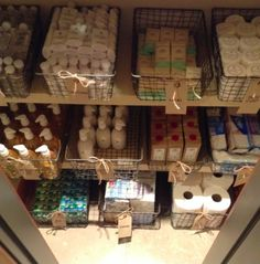 Great way to organize your extra bathroom products in a linen closet! Love this - more tips on The NEAT Method blog!