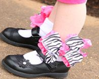 Frilly Zebra Ruffle Bow Socks