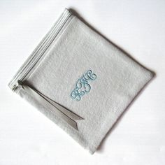 """6"""" x 6"""" Zippered Monogrammed Flannel Anti-Tarnish Bag for Silver by SherwoodSilverBags on Etsy.  Made to order in Virginia, USA, and embroidered with your monogram.  1"""