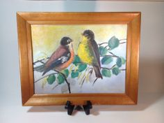 Vintage Oil Painting of Birds With a nice Vintage Wood Frame #Impressionism
