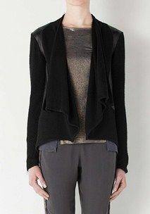 Noticing Leather Panel Knit Jacket
