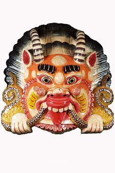 "SOLD Yali Exotic Painted Wood Mask 16"" Item #1n17  Price: $250.00"