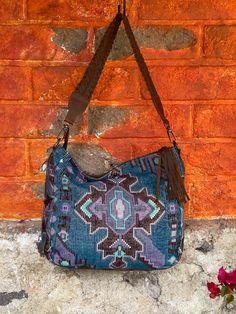 Blue Chocolate, Vintage Textiles, Textile Art, Shoulder Bag, Boho, Shoulder Bags, Bohemian