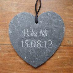Engraved Slate Wedding Gift Heart. A natural engraved slate, great for a wedding gift.