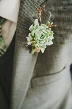 Brides: Succulent Wedding Flowers: Boutonniere Ideas for Your Groom Wedding Groom, Our Wedding, Dream Wedding, Succulent Boutonniere, Boutonnieres, Succulent Corsage, Green Boutonniere, Wedding Boutonniere, Floral Wedding