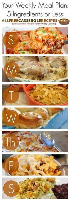 5 Ingredients or Less Weekly Meal Plan