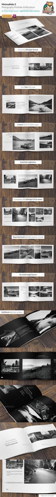 Buy Minimalfolio 3 Photography Portfolio Brochure by MadHamsterLab on GraphicRiver. Minimalfolio 3 is a horizontal photography portfolio brochure. Minimal style makes a clean and elegant look. Cv Inspiration, Graphic Design Inspiration, Portfolio Layout, Portfolio Design, Portfolio Booklet, Book Design Layout, Print Layout, Web Design, Presentation Layout