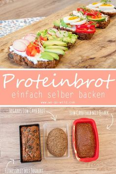Protein bread recipe: low carb fitness bread for baking - Protein-rich recipes don& always have to be yogurt or muesli. You can also bake a protein bre - Protein Bread, Low Carb Protein, Protein Rich Foods, Low Carb Bread, Healthy Protein, Protein Desserts, Protein Snacks, Healthy Snacks, Muesli