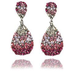 Lemonade Crystal Oval shaped Earrings Pink...hello, lover!